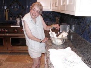 Jana enjoying the homemade ice cream off the dasher. That's the Prescott way!
