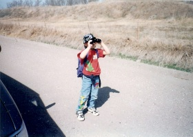 Jared on his first sandhill cranes-watching trip.
